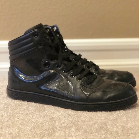 Gucci Black High Top Lace Up Imprime Gg